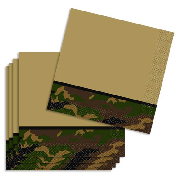 Kleine Partyservietten Camouflage , 16er Pck, 25,4cm x 25,4cm