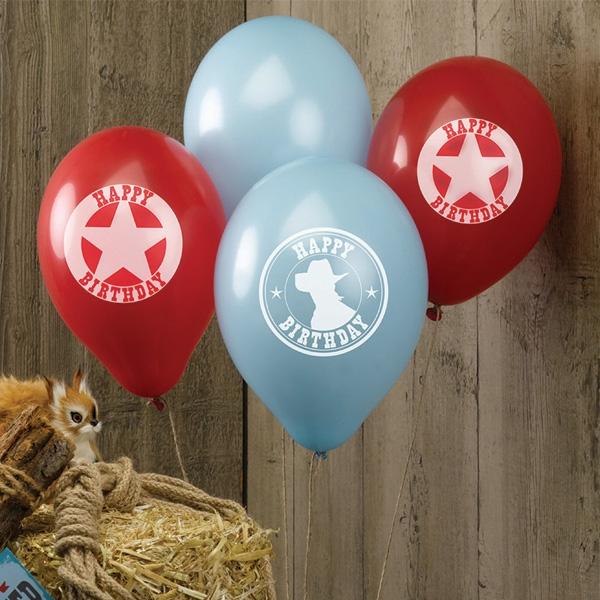 Wilder Westen Latexballons, 8 Stk, 30cm, mit Aufdruck, rot und blau