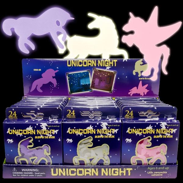 Großpackung Leuchtende Einhorn Sticker, 24 Pack zu je 24 Stickern, 5cm