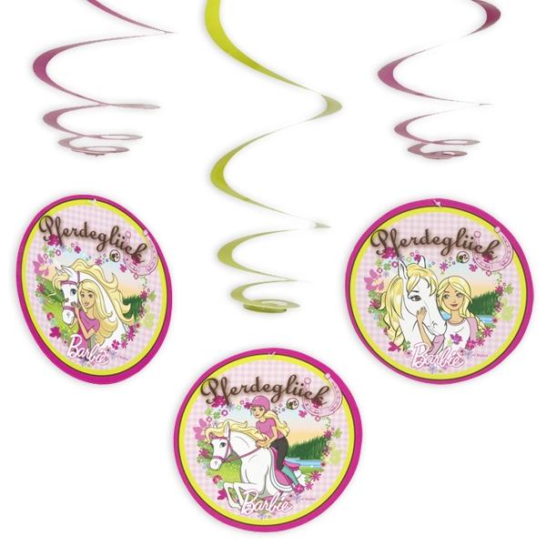 Barbie Spiralen, 3 Dekospiralen mit Pferde-Motiv als Hängedeko, Pappe