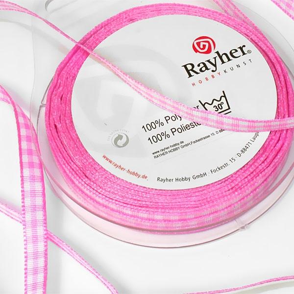 Karoband auf Rolle in Rosa, hübsches Stoffband rosa-weiß kariert, 10m