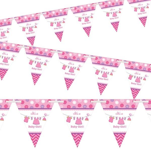 Wimpelkette It's a Baby Girl in Pink aus Papier, 24 Wimpel, 4,6 m
