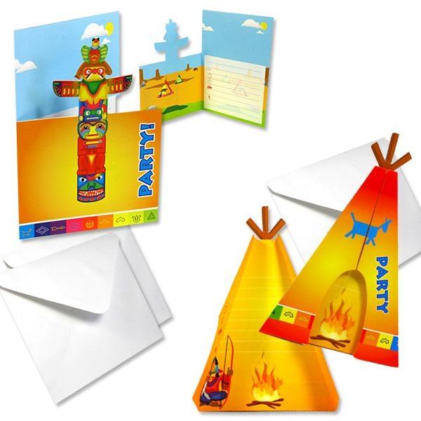 Indianer Einladungen im 8er Pack, cooles Design, mit Umschlägen