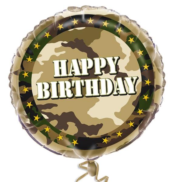Camouflage Folienballon 35 cm, Heliumballon im Tarnfarben-Look