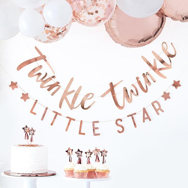 Babyparty Buchstaben Girlande, Twinkle Twinkle, 2er Set, insg. 3m