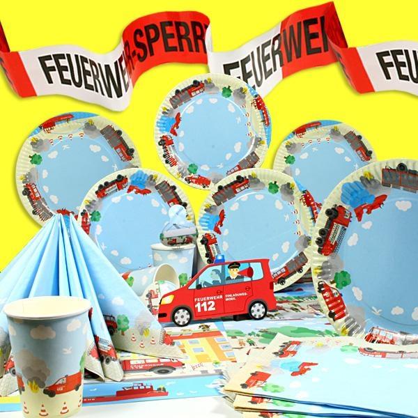 Feuerwehr-Partyset 51-teilig für 6 Kinder, Tischdeko mit Feuerwehrauto