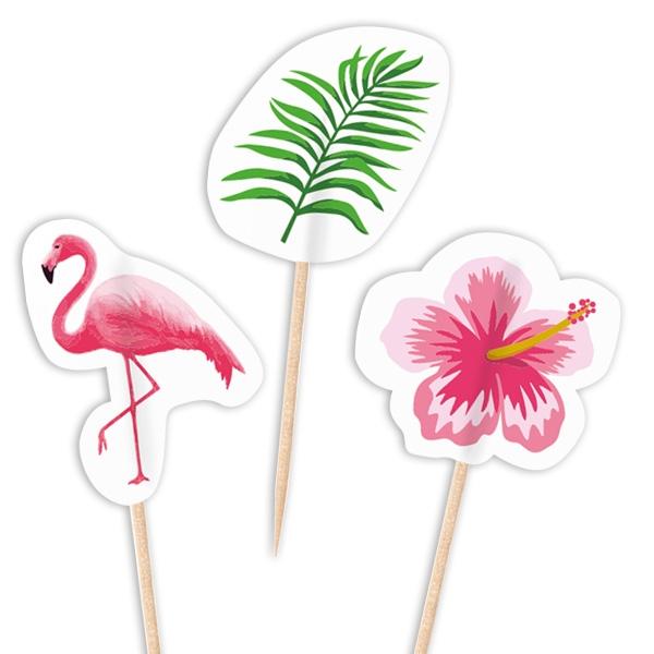 Flamingo Dekopicker für kleine Appetithäppchen zur Party, 20 Stück