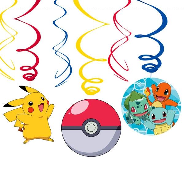 Pokemon Spiralen 6er Pck, Pikachu, Pokeball, Glumanda & Co.