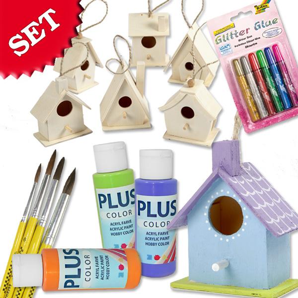 Vogelhäuschen Bastelset, mit 6 Häusern, 3 Flaschen Bastelfarbe, Pinseln und Glitter Glue