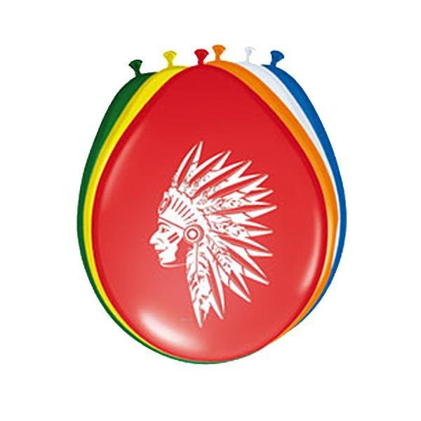 Indianer Luftballons 8 Stück, 30 cm in verschiedenen Farben, Latex