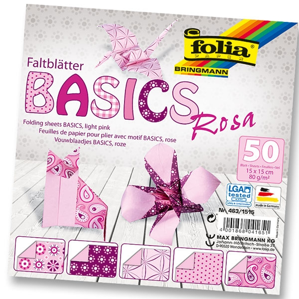 Faltblätter BASICS ROSA 15x15cm, 50 Blatt, 5 Motive sortiert, Origamipapier, Designpapier