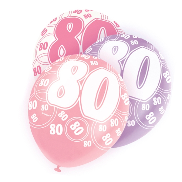 Latexballons mit 80 + Happy Birthday, lila/pink/weiß, 30cm