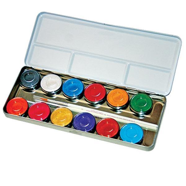 Kinder Make Up Box mit 12 Perlglanz-Farben, Schminkpalette im Metalletui, nachfüllbar, inkl. Profi-Pinsel