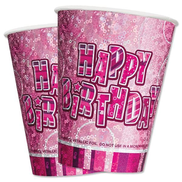 Glitzernde Partybecher aus veredelter Pappe in Pink, 8er Pack, 270 ml