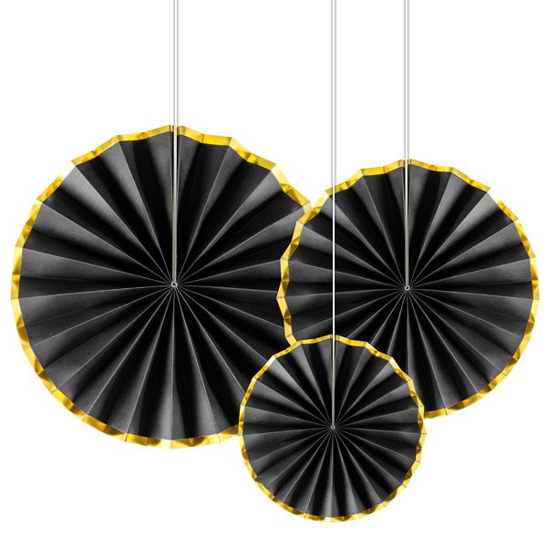 Deko-Fächer in schwarz mit Goldrand, im 3er Pack