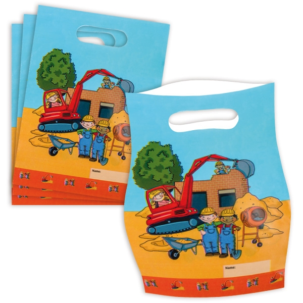 Baustelle Mitgebseltütchen im 8er Pack aus Folie mit Namensfeld