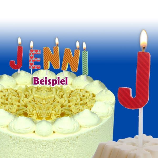 Mini Kerze Buchstabe J, 2,5cm, für Namen vom Geburtstagskind, 1 Stück