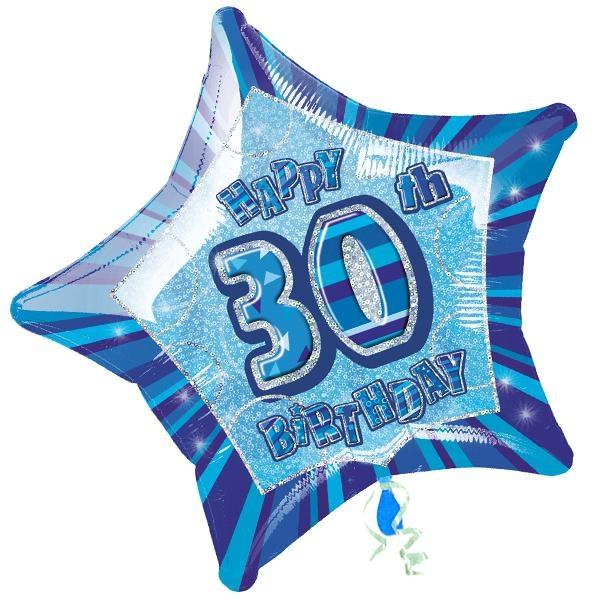 Folienballon rund +Zahl 30, blau, 35cm, für Helium