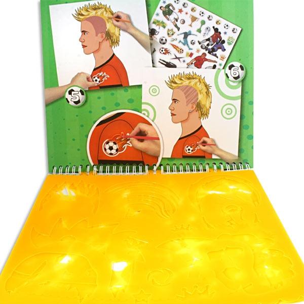 Fußball Schablonenbuch, tolle Malschablonen & viele Fußballsticker