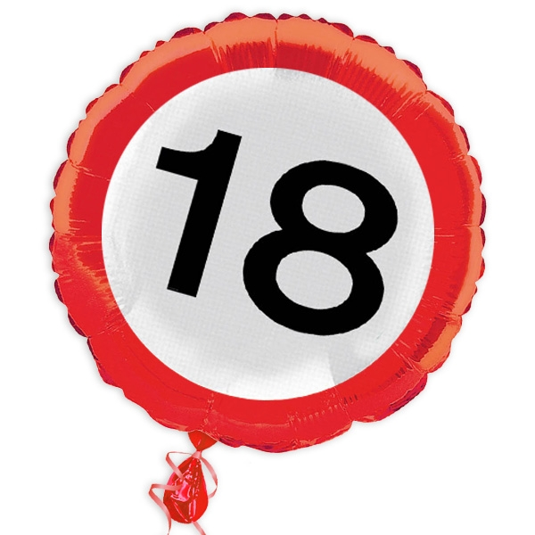 "Ballon ""Verkehrsschild"" zum 18. Geburtstag"