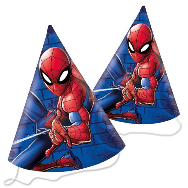 Spiderman Partyhüte im 6er Pack, Pappe