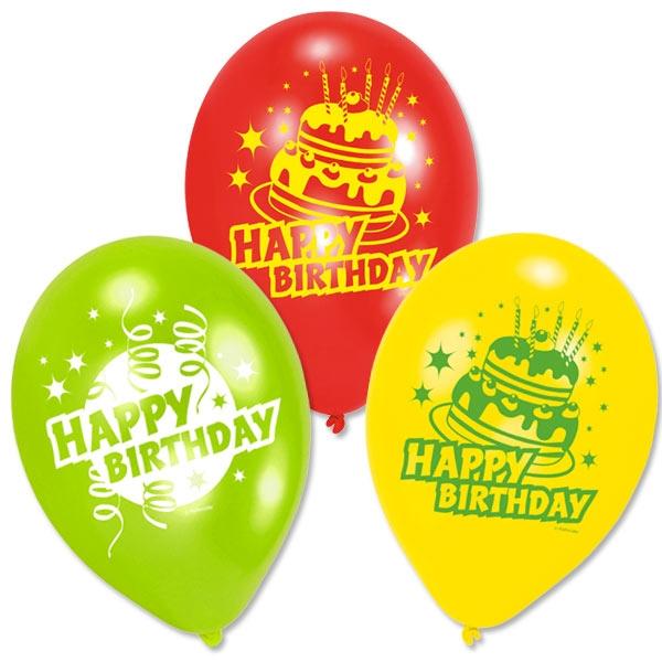 Luftballons Happy Birthday mit Torte, 6 Stk, 22,8cm