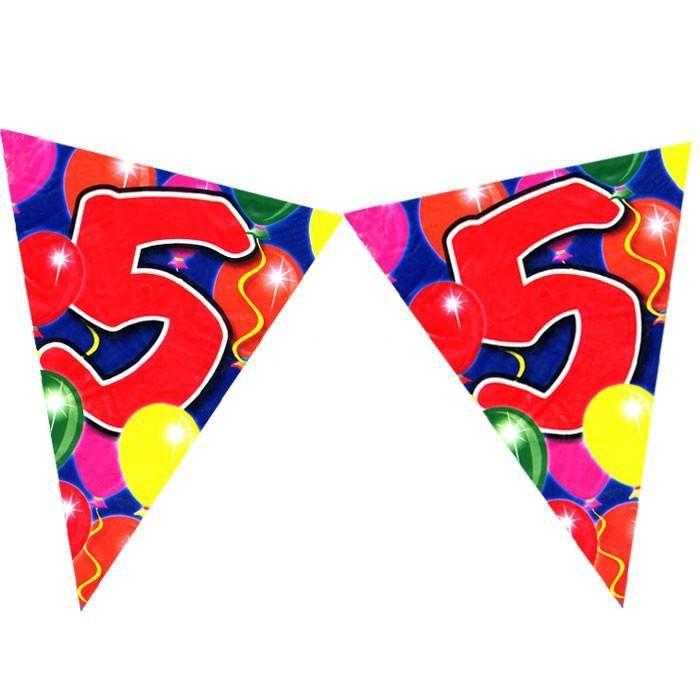 Wimpelkette zum 5. Geburtstag im Ballondesign, 10m