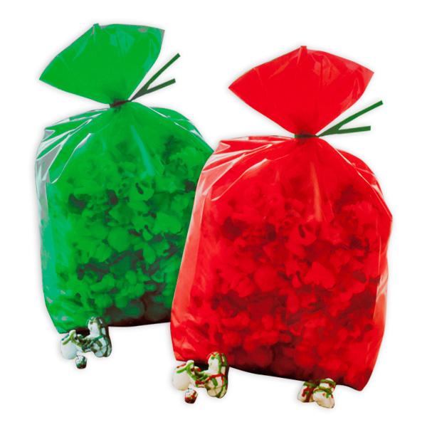 20 Weihnachtstüten in rot & grün, 24cm x 10cm