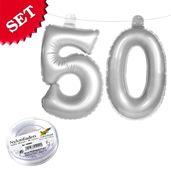 Aufblasbare 50 in Silber, Deko 50. Geburtstag, Goldene Hochzeit, 2er