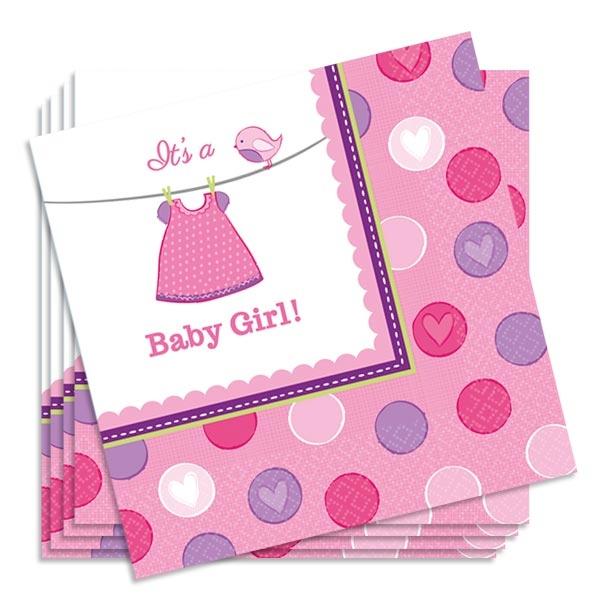 Partyservietten It's a Baby Girl im 16er Pack aus Papier, 33 cm