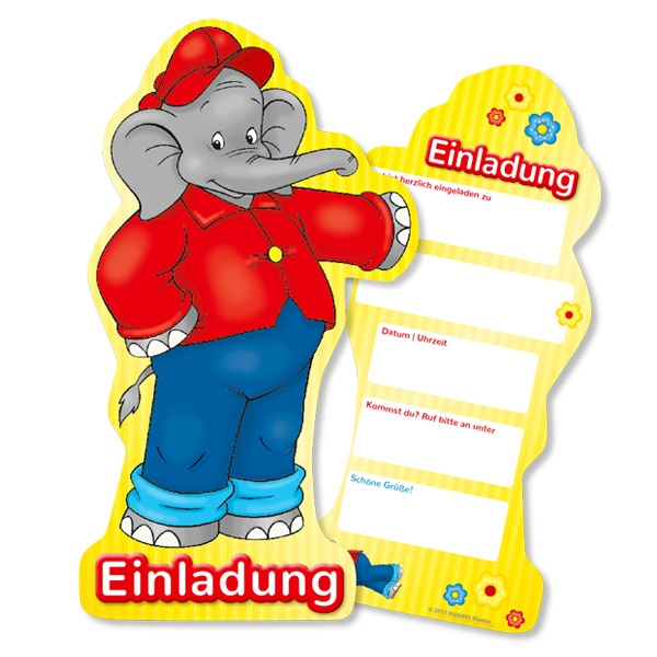 Benjamin Blümchen, 6 Einladungen mit Textfeldern für Partytermin