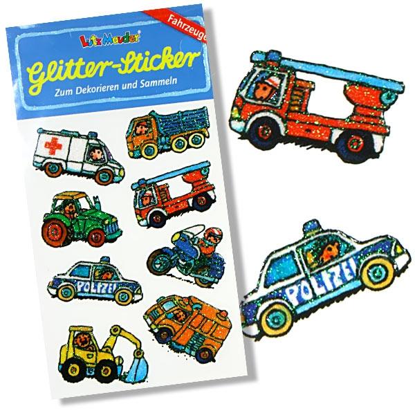 Glitzersticker Fahrzeuge, 1 Karte, Traktor, Krankenwagen, Feuerwehr...