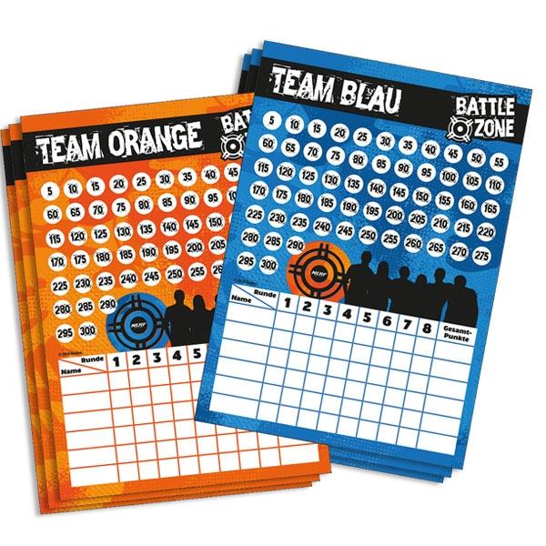 NERF Punktetafeln für Partyspiele, 6er, 14,8cm x 21cm
