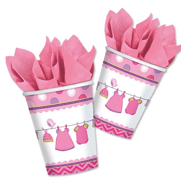Partybecher It's a Baby Girl in Pink aus Pappe, 8 Stück, 266 ml
