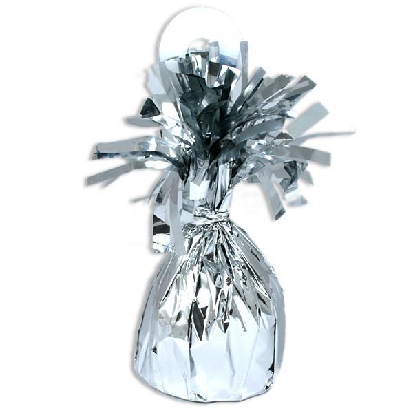 Ballongewicht silbern Metallic 13cm x 6cm, auch als Tischdeko-Accessoire