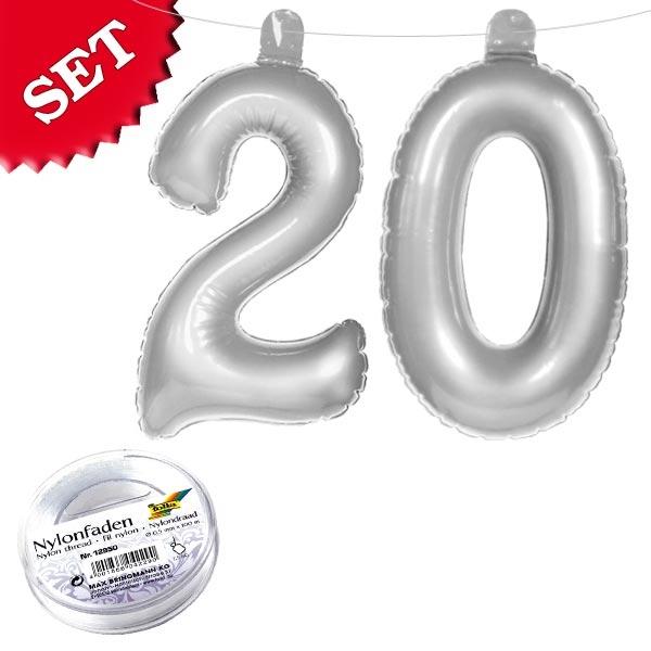 Infletter-Set Zahl 20 in Silber, aufblasbare Deko 20. Geburtstag
