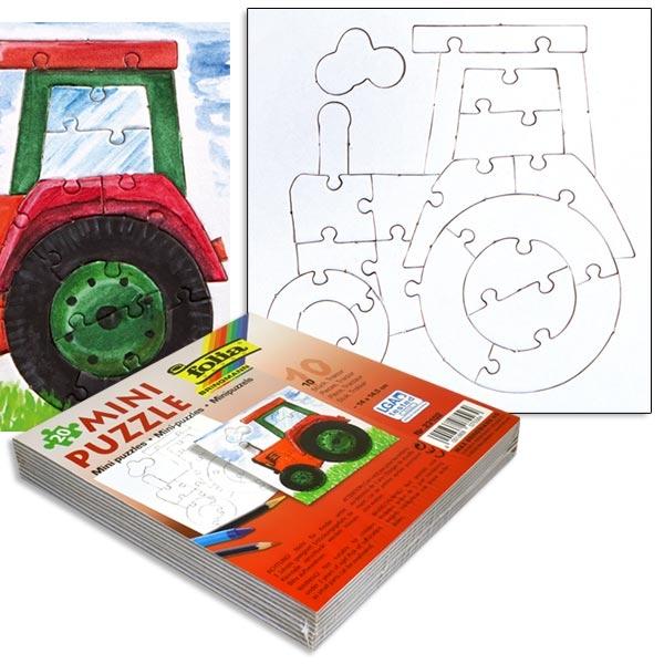 Tolle Traktor-Puzzle im 10er Pack, 14x14,5cm, weiss, zum Anmalen, zum Kindergeburtstag