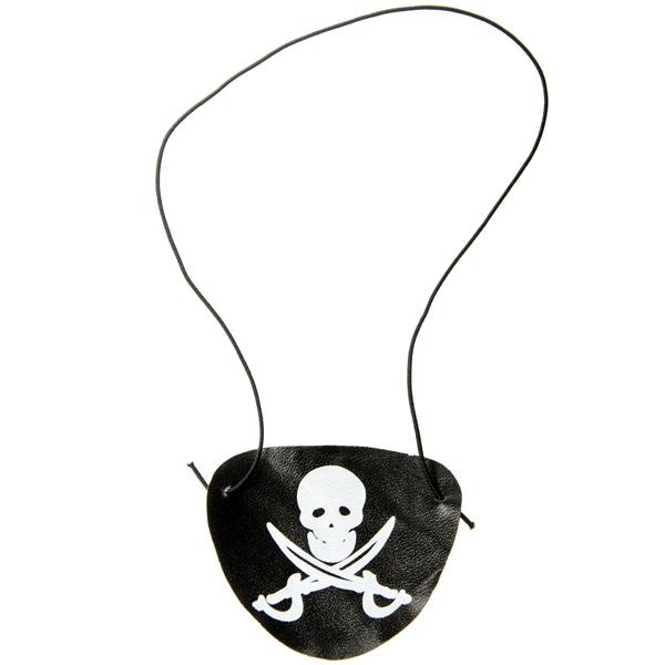 Piraten-Augenklappe schwarz mit Totenkopf-Emblem, 7,5cm, Plastik