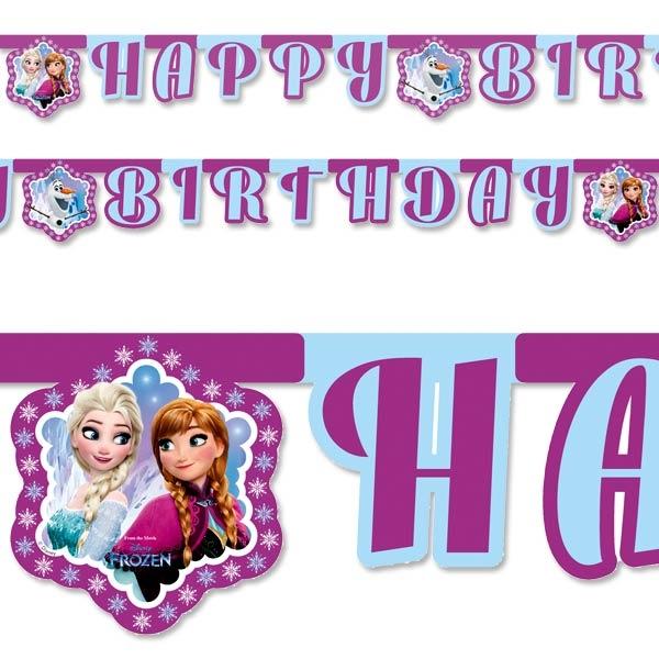 Eiskönigin Buchstabenkette mit Anna und Elsa, aus Pappe, 2,1 m lang