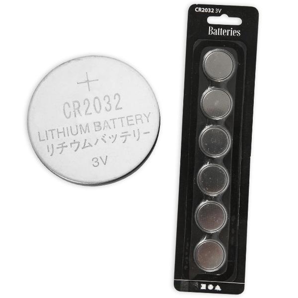 Batterien CR2032, 6 Stück Lithiumbatterien 3 V, Einweg, 2 cm