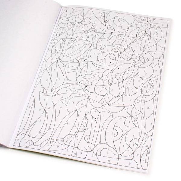 Malen nach Zahlen - Tiere, Malbuch mit den beliebtesten Haustieren 24S.