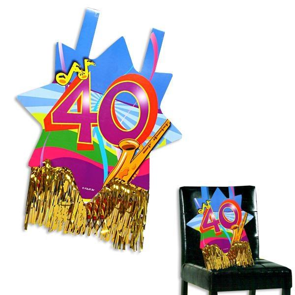 Stuhldeko zum 40. Geburtstag, ca. 31x71 cm, mit Goldfransen