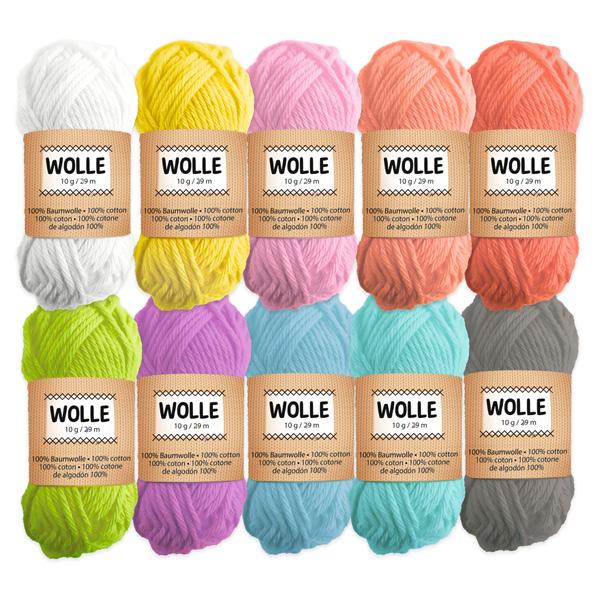 10 Knäule Wolle, Pastellfarben
