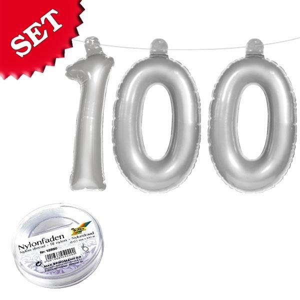Zahl 100 Infletterset in silber