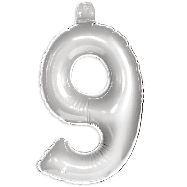 Zahl 9 als aufblasbarer Infletter mit Ventil, silbern, 35 cm