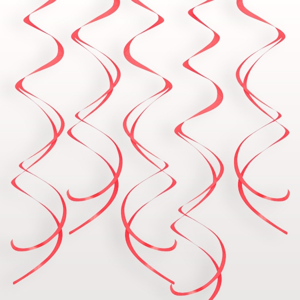Deko-Spiralen in Rot, glänzende Kringel aus Kunststofffolie, 8 Stück
