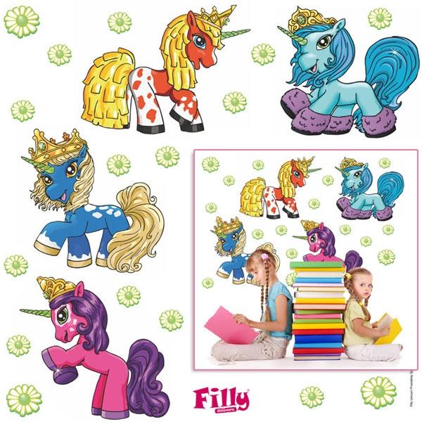 XXL Wandtattoos Filly Unicorn 20tlg. aus Vinyl für Mädchen Kinderzimmer