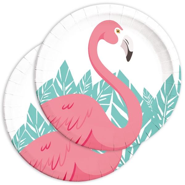 Flamingo Partyteller, Einwegteller aus Pappe im 8er Pack, 22,5cm