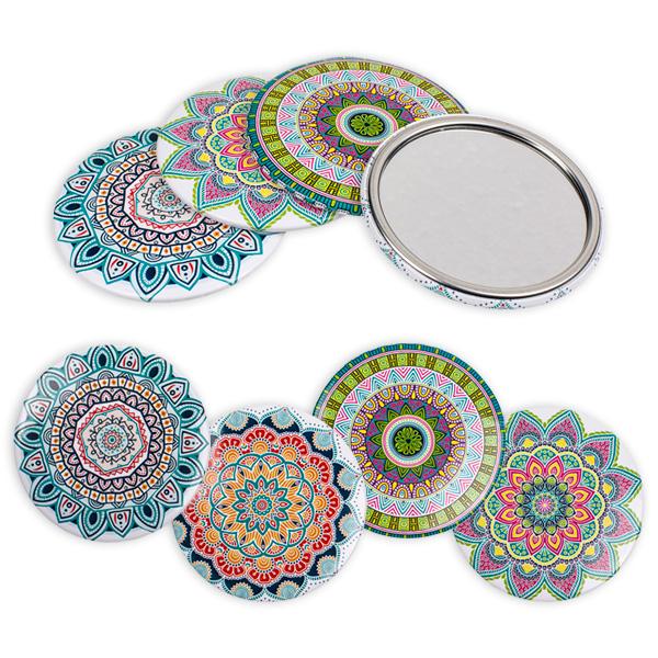 Taschenspiegel im Mandala-Look, 7,5cm, 1 Stk.
