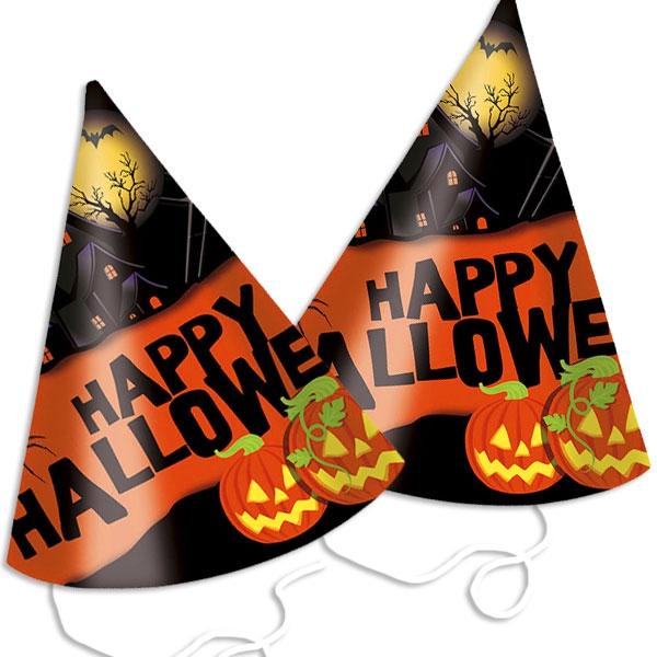 Halloween Partyhütchen mit Kürbissen, 6er Pck, +Gummi, 16 × 10 cm